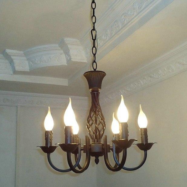 US $61.6 30% di SCONTO Gratis shipping6 Pezzi E14 nero lampadari in ferro  battuto Europea/classica candela lampadario/camera da letto lampadario-in  ...