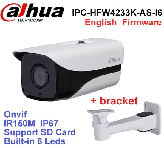 Dahua Stellar Camera 2Mp IPC-HFW4233K-AS-I6 IP camera with POE SD Card slot Audio Interface IP67 IR 150M with bracket dahua ipc hfw4431k as i6 stellar camera 4mp poe sd card slot audio alarm interface ip67 ir150m bullet camera with bracket
