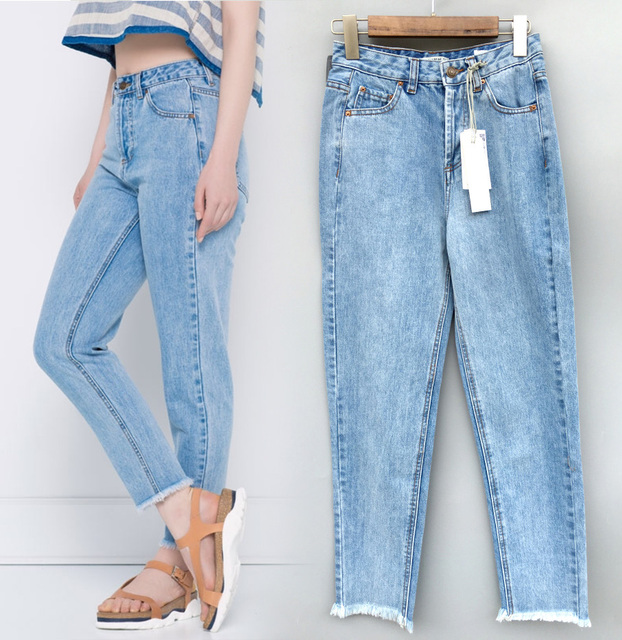 Woman 2016 New Fashion Moms Blue Denim Jeans Trousers With Frayed Cuff Hem High Waist Pencil Cropped Pants For Street Bloggers
