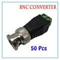 50 peças BNC CCTV Vídeo Balun passivo Transceiver Adaptador Macho Para CCTV IP Câmera de Vigilância de Alimentação Acessórios