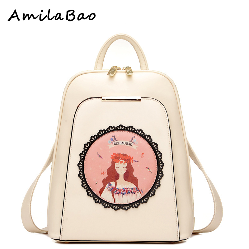 backpacks for teenage girls printing backpack leather bags High Quality PU Leather School Bags Women Backpack
