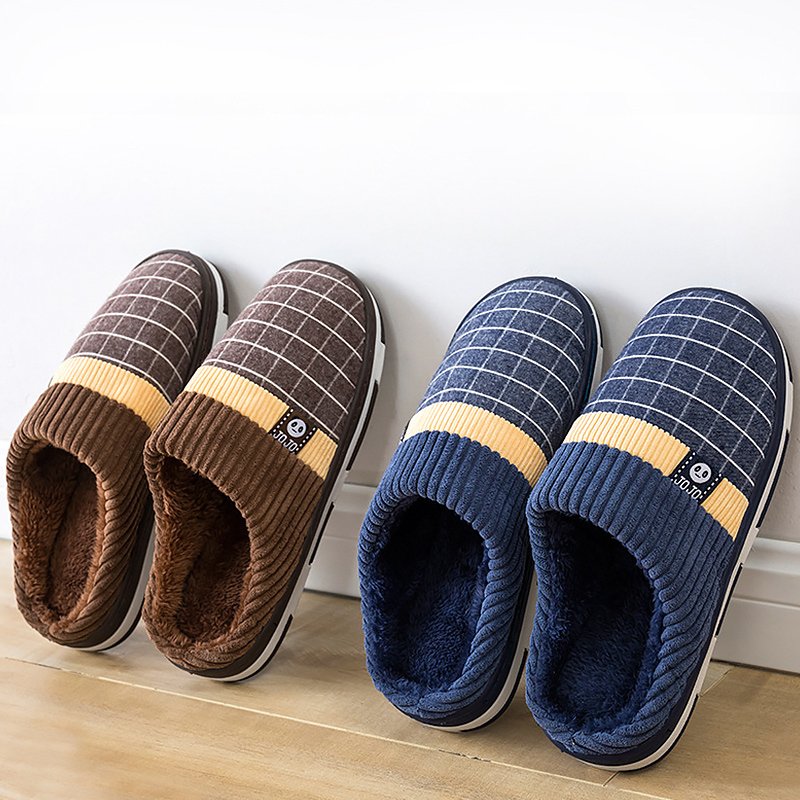 Image 5 - 2019 New warm men's slippers short plush flock home slippers for men hard wearing non slip sewing soft male shoes-in Slippers from Shoes
