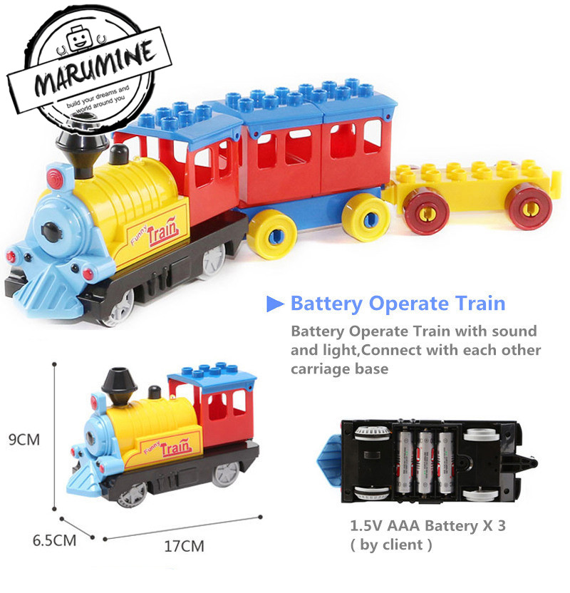 Marumine Battery Operated Duplo Train Toys Building Blocks Children Educational Toy Gift Electric Train for Kids цены онлайн