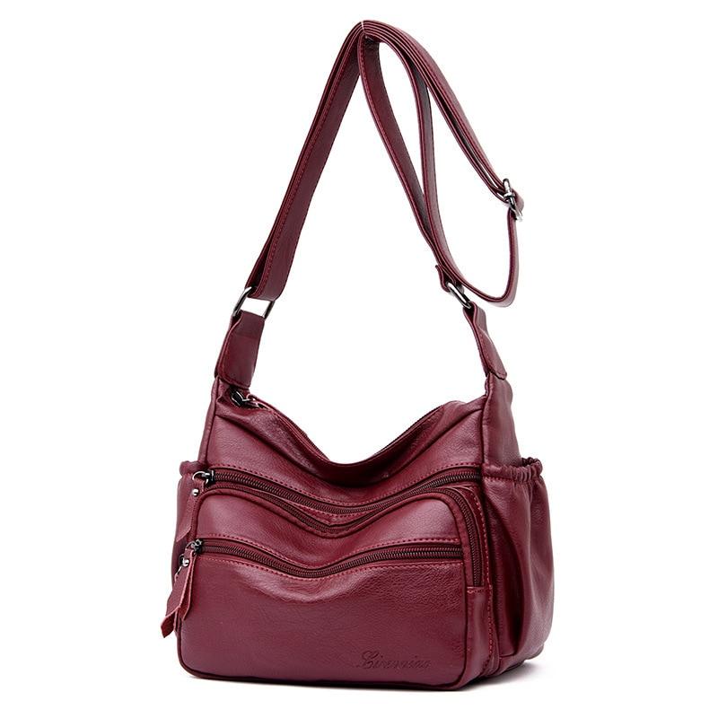 새로운 2019 새로운 물 가방 유럽과 미국의 패션 한 어깨 가죽 가방 드레이 레드 지퍼 crossbody 가방-에서탑 핸드백부터 수화물 & 가방 의  그룹 1