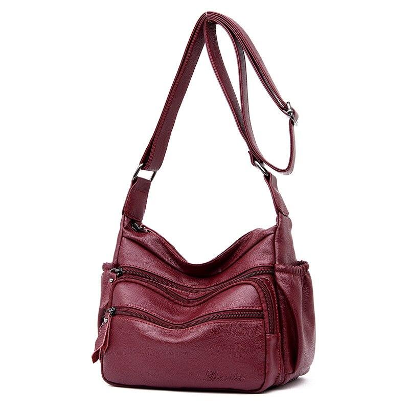Nouveau 2019 nouveau sac à eau mode européenne et américaine un sac à bandoulière en cuir dray sac à bandoulière à fermeture éclair rouge