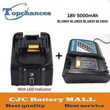 Новые 18 В 5000 мАч с светодио дный индикатор литий-ионный Батарея для Makita Батарея BL1860 BL1850 BL1830 BL1840 194205-3 мощность инструмент + Зарядное устройство