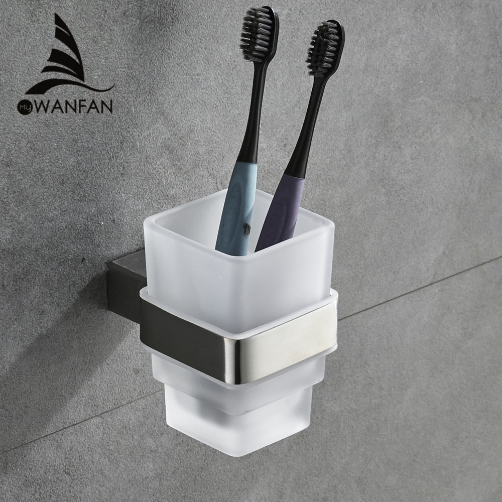 Cup & Tumbler Contemporary Holders SUS304 Stainless Steel Toothbrush Holder Ceramics Bathroom Accessories Wall Cup Holder 610002 yanjun double crystal cup tumbler holder brass wall mounted toothbrush cup holder bathroom accessories cup holder yj 8065