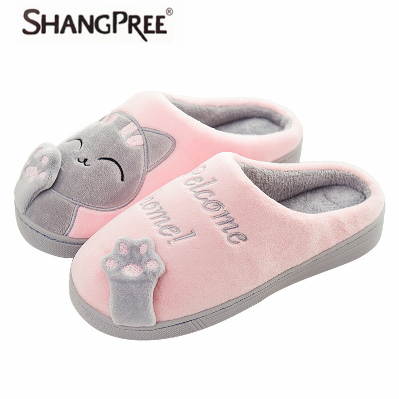 Women slippers Warm lovely Cat Winter Shoes Women Home Slippers Comfort soft Home Shoes For Women Indoor Shoes Fur Slippers siketu 2017 women home slippers spliced warm pregnant women shoes best gift drop shipping dec27