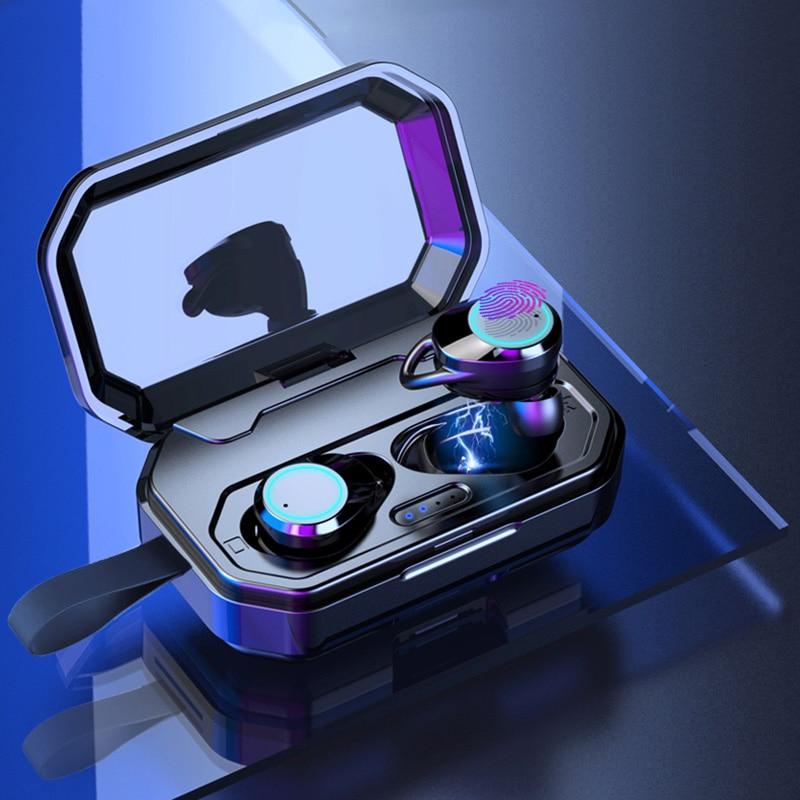 LYMOC Tactile Clé écouteurs sans fil 5.0 Bluetooth Casques TWS écouteurs stéréo Mains Libres Vadio Jeux Sport Peut Charger pour les téléphones