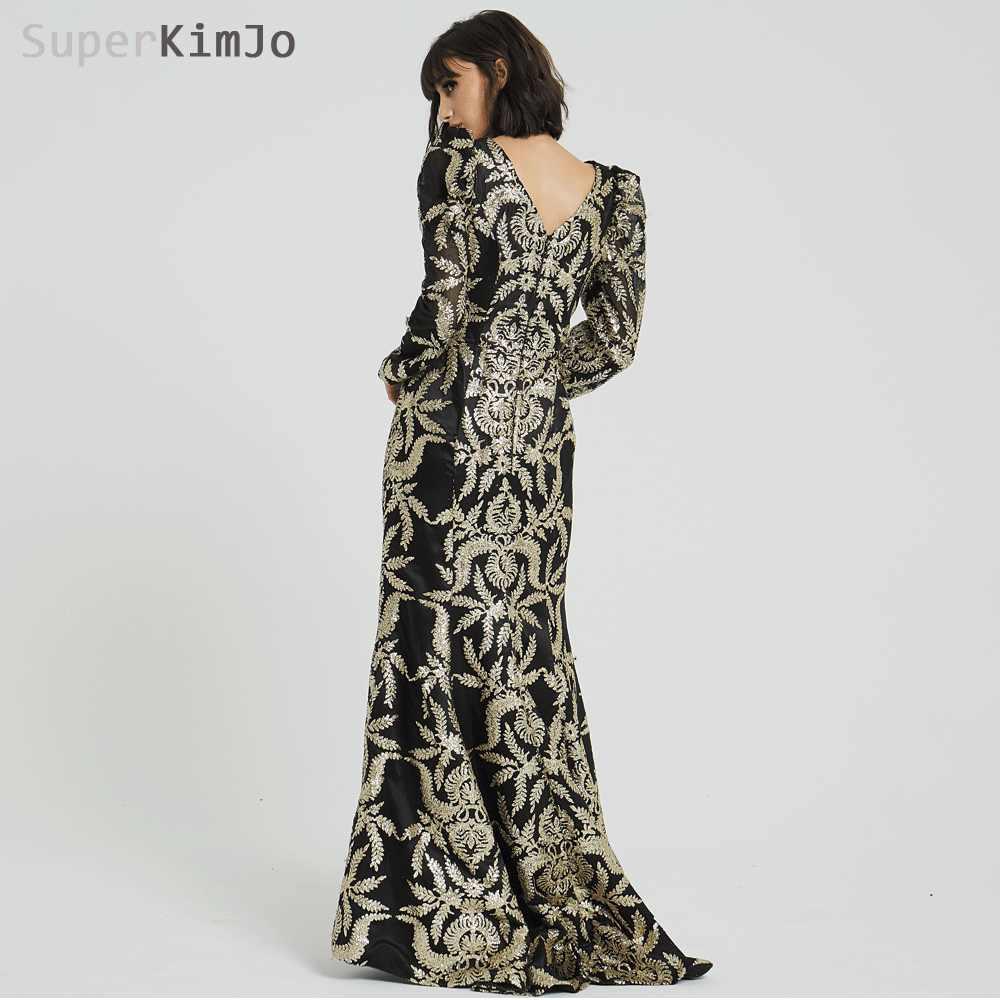 SuperKimJo 2019 Съемная юбка вечерние платья с v-образным вырезом и длинными рукавами Черное и Золотое вечернее платье Abendkleider 2018