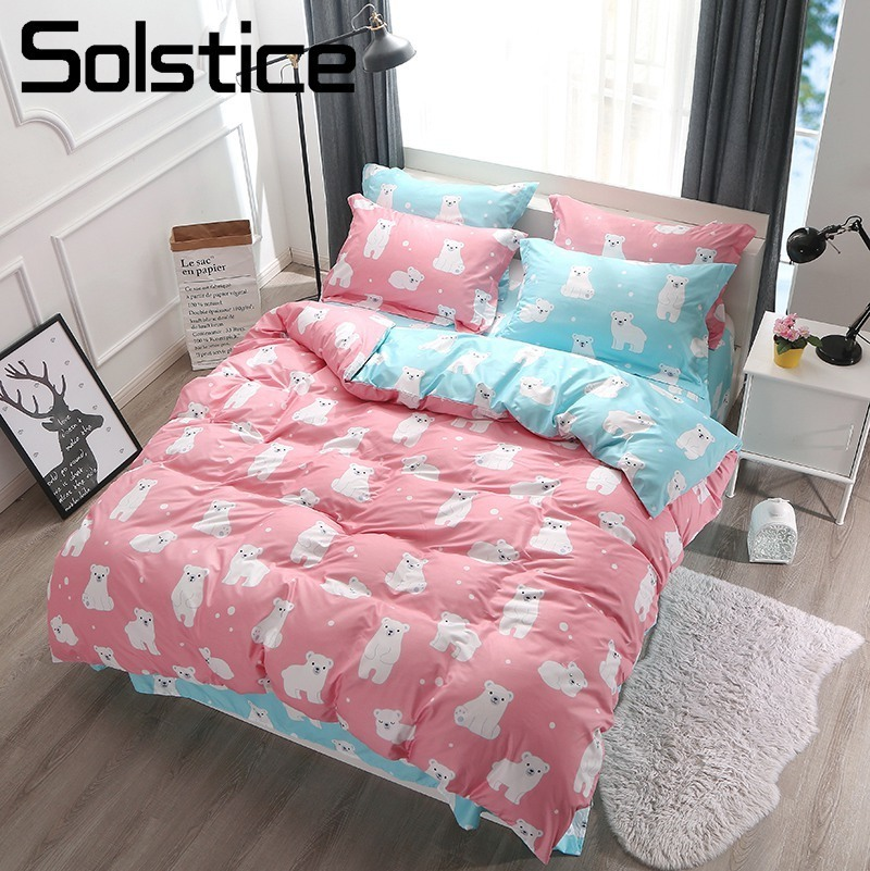 Solstice Home Textile Twin Full Queen King Bed Linen Polar Bear Pink Blue Duvet Cover Sheet Pillowcase Girl Kid Teen Bedding Set