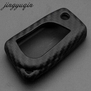 Image 3 - Jingyuqin Sợi Carbon Dẻo Silicone Từ Xa Fob Dành Cho Xe Toyota Cao Cấp Camry Tràng Hoa EX VIOS 3 Nút Xe Lật Gấp Chìa Khóa bao Da