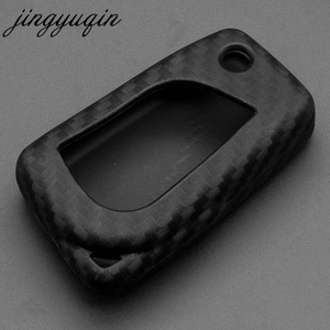 Image 3 - jingyuqin Carbon Fiber Silicone Remote Fob Case For Toyota Highlander Camry Corolla EX VIOS 3 Button Car Flip Folding Key Cover