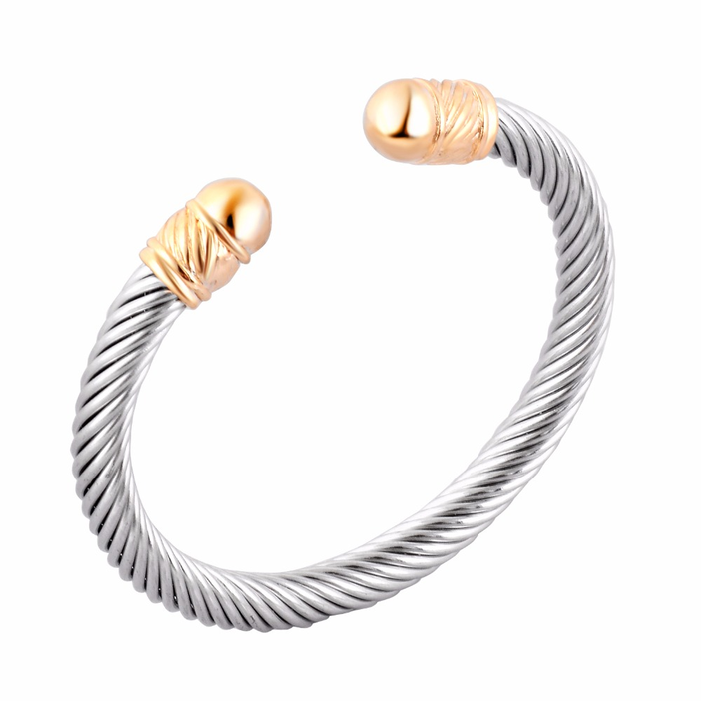 Stainless Steel Jewelry fashion women Quality silver tone cuff bangle punk casual cable stretch wire bracelet dropship