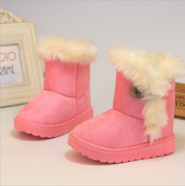 Children Boots Winter 2017 Thick Warm Girls Shoes Cotton-Padded Suede Kids Boots for Girl Snow Boots Kids Shoes Black Red Pink ...