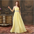 Crystal Bridesmaid Dress 2017 Long Strapless Draped Chiffon Bridesmaid Gowns Yellow Mint Green Wedding Party Dress