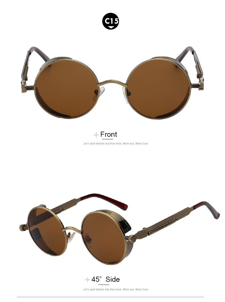 Round Retro Steampunk Metal Sunglasses- C15