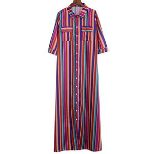 Laamei Women Dresses Bohemia Striped Short-Sleeve Print Colorful Beach Summer Maxi Shirt