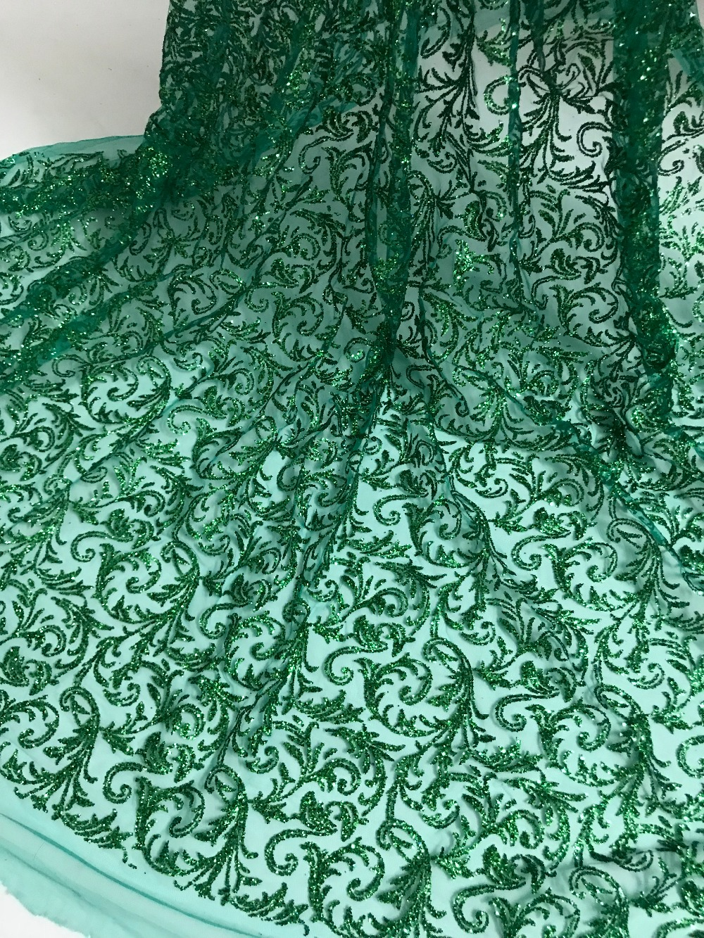 5yard lot african glitter lace fabric SYJ 91019 embroidered tulle lace with glued glitter for party