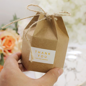 10pcs Candy Dragee Box Kraft Gift Bag Wedding Favor Gift Boxes Pie Party Box Bag Eco Friendly Kraft Gift Bags Wrapping Supplies(China)