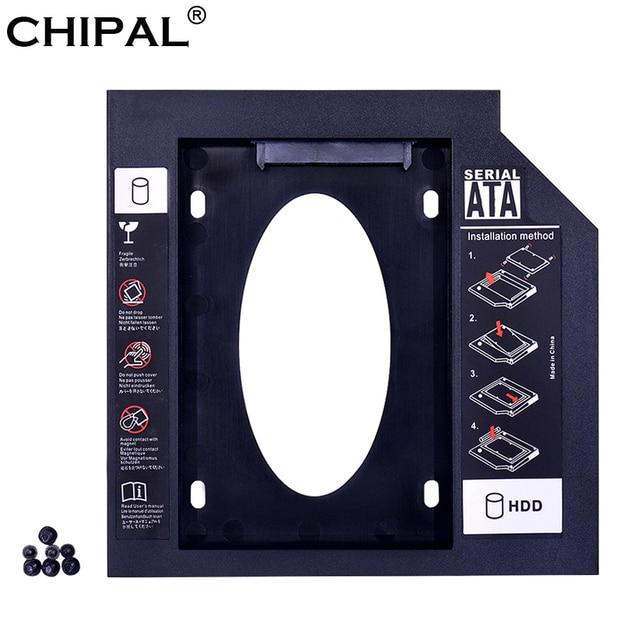 "CHIPAL Universal 2nd HDD Caddy 9,5mm SATA 3,0 para 2,5 ""2 TB 9 MM 7 MM duro SSD caja de transmisión para ordenador portátil DVD-ROM Optibay ODD"