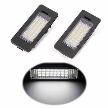 2pcs Error Free 24-LED License Plate Light For BMW E90 M3 E92 E93 E70 E39 F30 E60 White 6000K led light Lamp 2018 Car light image