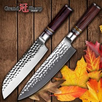 Chef Knife Set 2 pcs Japanese Steel Damascus Kitchen Knives Japanese Knife Set Santoku Kitchen Knife vg10 Damascus Steel Cooking