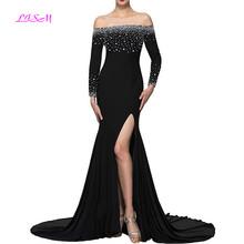 Black Boat Neck Mermaid Evening Dress Elegant Crystals Long Sleeves Prom Dresses Sexy Sheer Back High Collar Split Formal Gowns