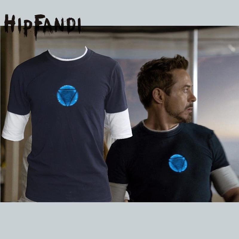 HIPFANDI Men Marvel Emitting Luminous Exclusive design100%Cotton short Sleeve t-shirt Iron Man Tshirt Homme Superhero T shirts