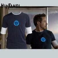 HIPFANDI Men Marvel Emitting Luminous Exclusive Design100 Cotton Short Sleeve T Shirt Iron Man Tshirt Homme
