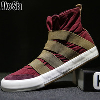 Ake Sia Youth Teens Hombre Male Fashion Casual Canvas Men High Slip On Espadrille Walking Plimsolls Zapatillas Flats Shoes A163