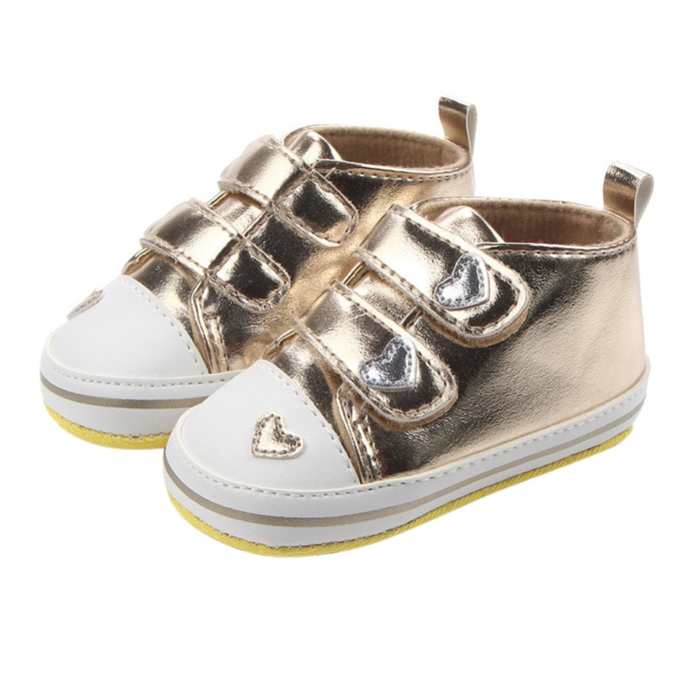 Spring Autumn Shoes Newborn Baby Girls Classic Heart-shaped PU Leather First Walkers Tennis Lace-Up