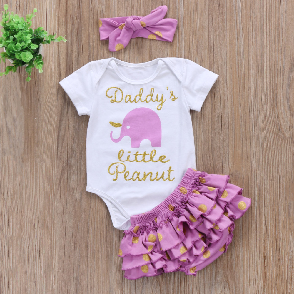 Cute Newborn Baby Girl Clothing Short Sleeve Letter Romper Top Tutu Skirted Bloomers Short +Headband 3PCS Outfit Clothing Set
