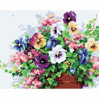 Frameless Picture Pansy DIY Painting By Numbers Europe Hand Painted Oil Painting On Painting Cloth Acrylic