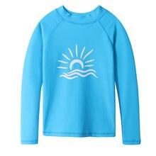 5c03310aa BAOHULU de manga larga de lycra niños traje chicos Surf camisas UPF 50 + protección  solar azul marino de las niñas erupción ropa.