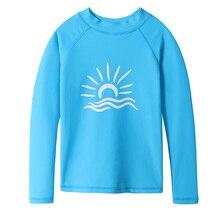 BAOHULU Long Sleeve Rashguard Kids Swimwear Boys Surf Shirts UPF 50+ Sun Protection Navy Blue Girls Swim Rash Guard Beach Wear