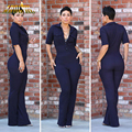 Adogirl Sexy Jumpsuits And Rompers For Women Dark Blue Casual Short Sleeve For Femme Rompers Fashion Bodycon Elegant Jumpsuits