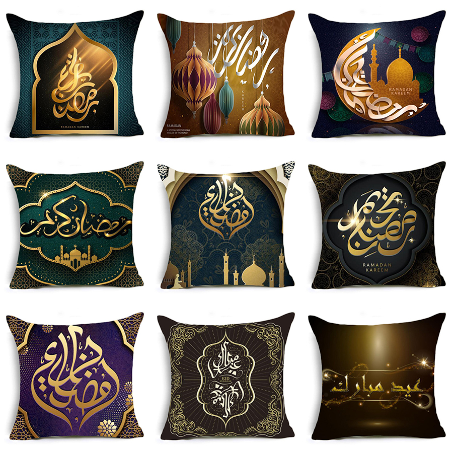 Comwarm Linen Cotton Ramadan Kareem Decoration Sofa Sqaure Cushion Cover Vintage Style Moon Lantern Pillow Cover Pillow Case To Reduce Body Weight And Prolong Life Table & Sofa Linens