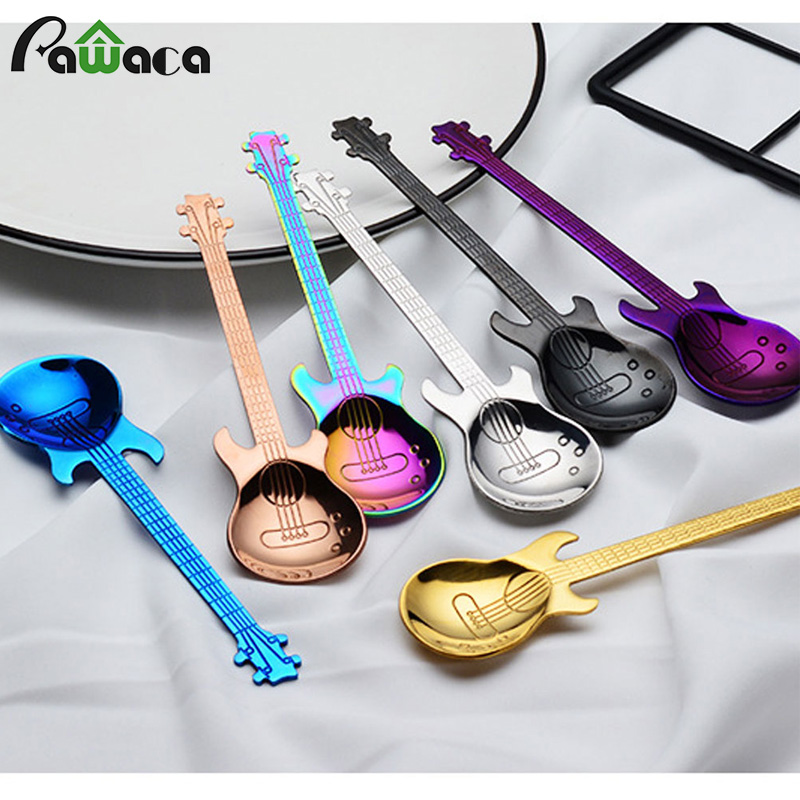 7pcs/ 4pcs Guitar Coffee Spoon Set Stainless Steel Dessert Ice Cream Spoon Tea Spoon Coffee Accessories Flatware Drinking Tools