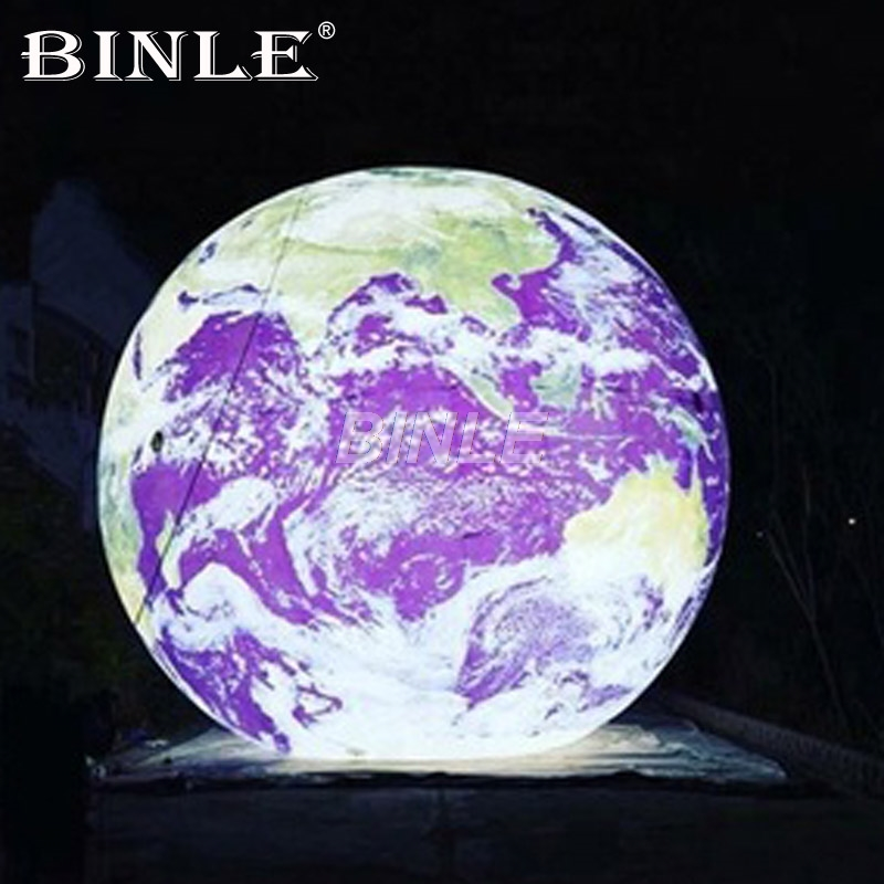 High quality factory outlet giant inflatable earth globe with LED moon ball ground planet balloon for advertising & show цена