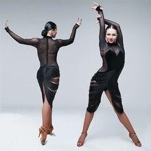 Seksi latin elbiseler dans kadın latin dans elbise püskül dans kostümleri kutup dans giyim bodysuit parti elbise caz