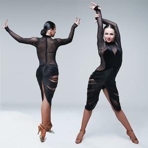 Image 1 - Sexy latin kleider für tanzen frauen latin dance kleid quaste dance kostüme für pole dance kleidung body party kleid jazz
