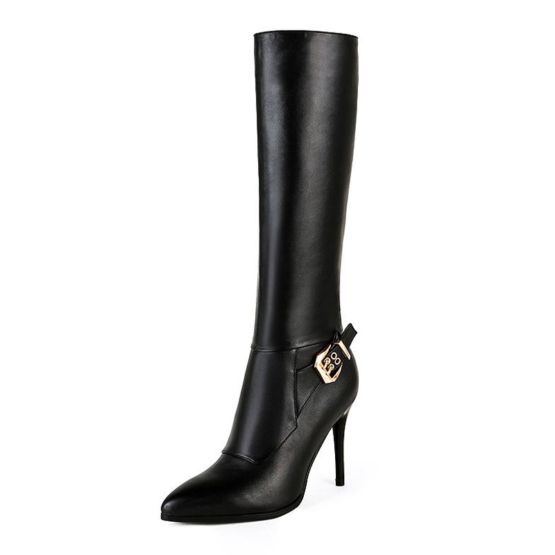 Big Size 33-43 Fashion Zip Genuine Leather Knee Boots Noble Buckle Thin High Heels Shoes Woman High Quality Fall Winter Boots big size 33 43 2016 new style thick heels high quality zip knee boots cozy buckle charm add fur fall winter boots women shoes