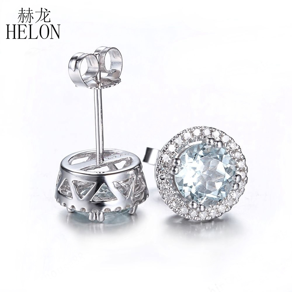 Helon 143ct Aquamarine 6mm Round Engagement Wedding Earrings Solid 10k White  Gold Pave Diamonds Stud
