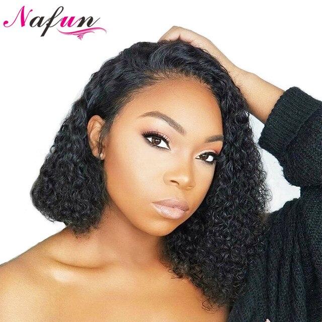 Peluca Frontal de encaje de Nafun pelucas de cabello humano Remy peruano Pelo Rizado Bob peluca Frontal de encaje para mujeres negras Perruque cheveux Humain