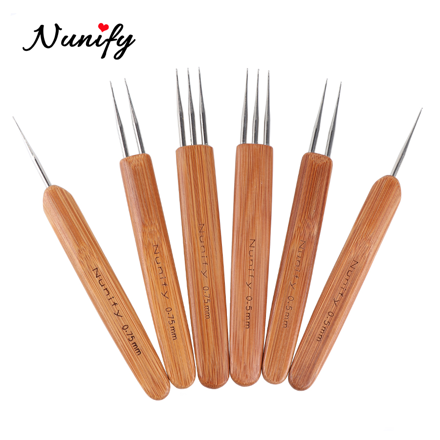 New Nunify Dread Hair Crochet Hook 1 2 3 Hook Dreadlock Needles 1Pcs/Set 0.5Mm 0.75Mm Two Style Wooden Handle Crochet Needle