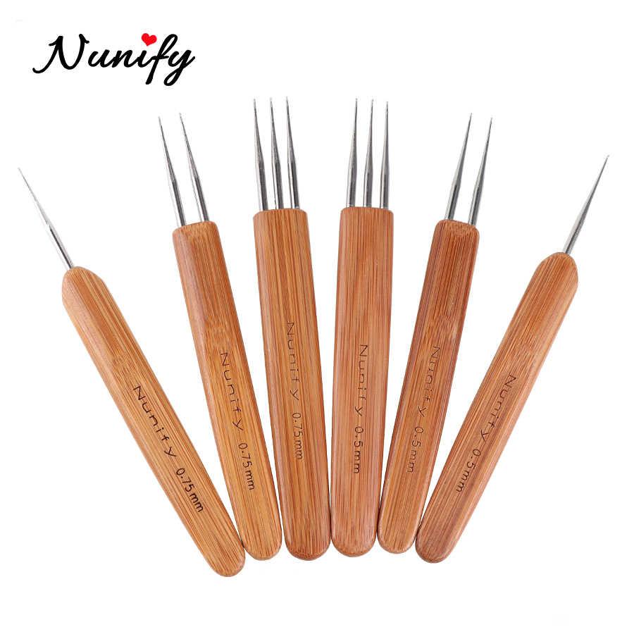 Новый nunify дреды, вязальный крючок на возраст 1, 2, 3, крюк, дредлоки, для увеличения объема, игл 1 шт./компл. 0,5 мм 0,75 мм два Стиль деревянная ручка Вязание крючком иглы