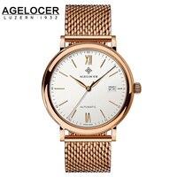 Agelocer marki najwyższej jakości aaa dostosowane wyświetlacz data steel analogowe wrist watch biznes męska black watch relogio masculino