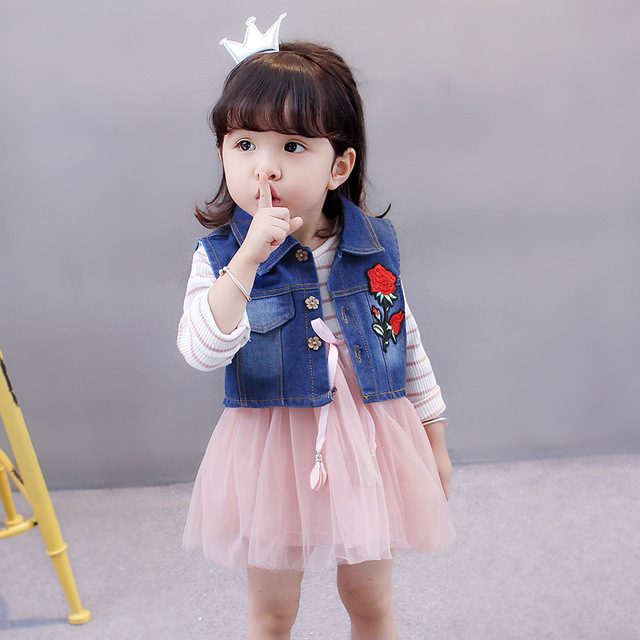 50ee72a9c575 Baby Girls Dress Autumn 2018 New Arrival Fashion Style Denim Vest ...