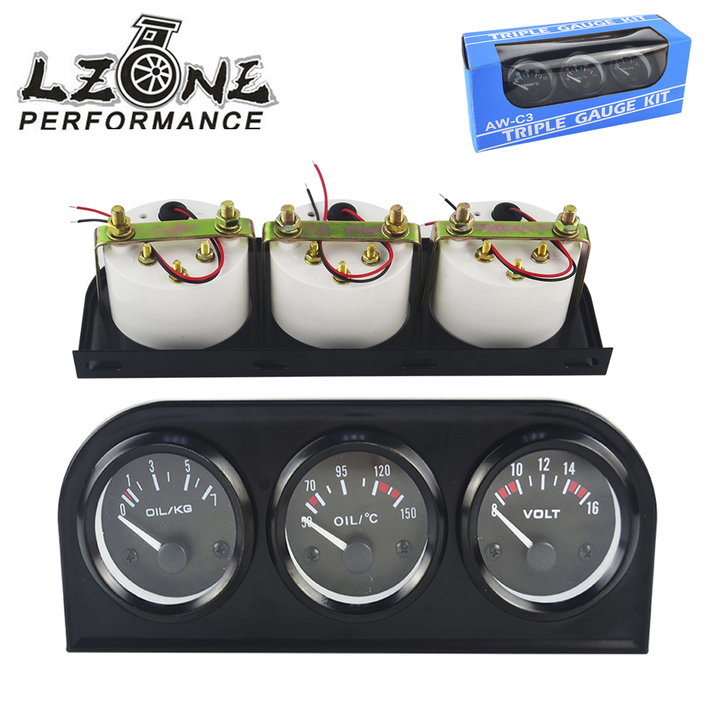LZONE-52mm 3 In 1 Volt meter + wasser temp gauge + Öl Manometer Kit Volt meter oder Öl Temperatur Gauge Triple Mete